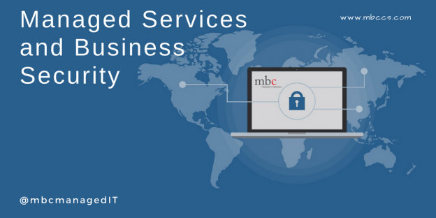 Blog banner with World map of Managed Services and Business Security