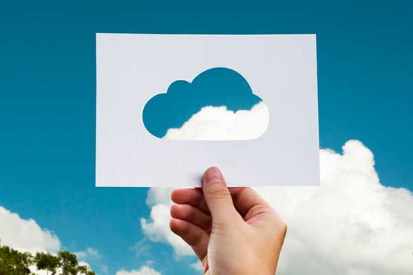 Viewing sky through cloud cut out
