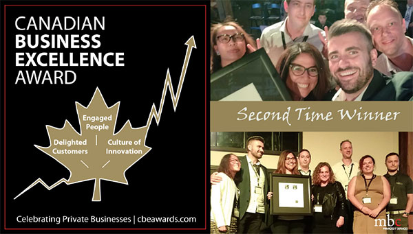 MBC receiving Canadian Business Excellence Award